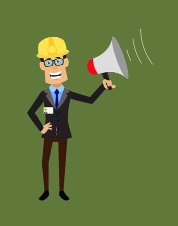 Technician Engineer Worker - Standing with Loudhailer