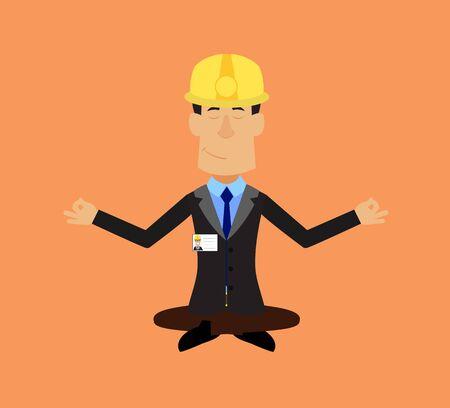 Technician Engineer Worker - Doing Meditation 向量圖像