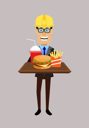 Technician Engineer Worker - Presenting Fast Foods