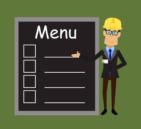 Technician Engineer Worker - Presenting Menu List 向量圖像