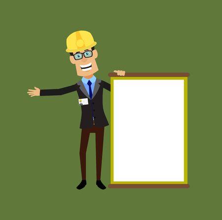 Technician Engineer Worker - Joyfully Presenting a Blank  Board 向量圖像