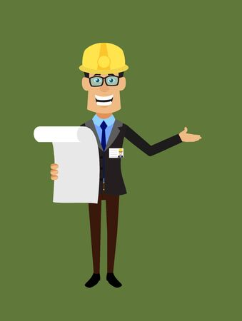 Technician Engineer Worker - Holding a Paper and Announcing