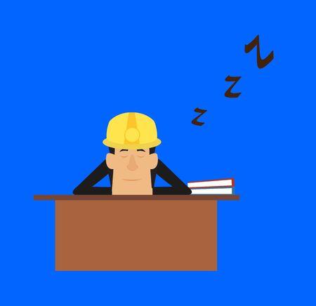 Technician Engineer Worker - Sleeping on Office Desk
