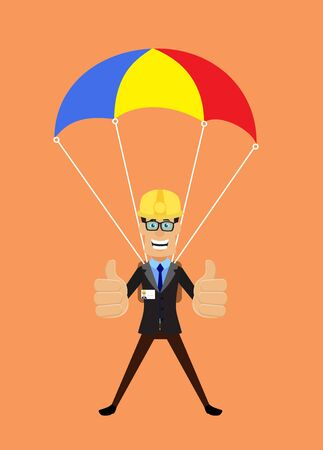 Technician Engineer Worker - Successful Landing with Parachute  イラスト・ベクター素材
