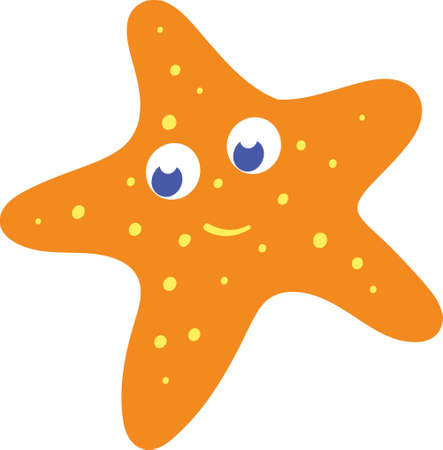 Underwater Cute Adorable Star Fish for Kids Books and Children Fictional Character. Animated hand drawn cartoon Illustration Sketch of Fish and Sea Life. All Fishes