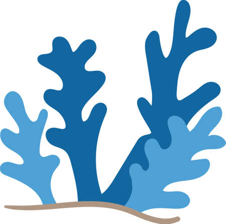 Underwater Elements Plants Corals for Kids Books and Children Fictional Character. Animated hand drawn cartoon Illustration Sketch of Fish and Sea Life. Fins eyes aquatic world marine life