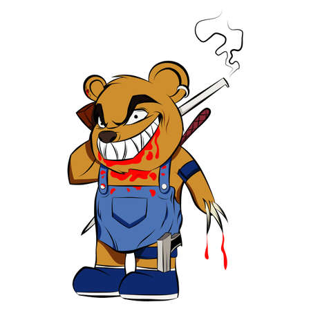 Killer Teddy Bear covered in blood Evil Toy for Kids. Dangerous Halloween Character with Guns Knife and Crowbar.