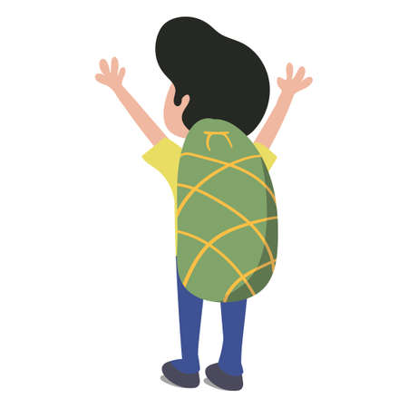 Man traveling around the world with backpack on his back. Yellow Shirt Blue pant Green Backpack. Scalable Vector Clipart Isolated on White Background. Vecteurs