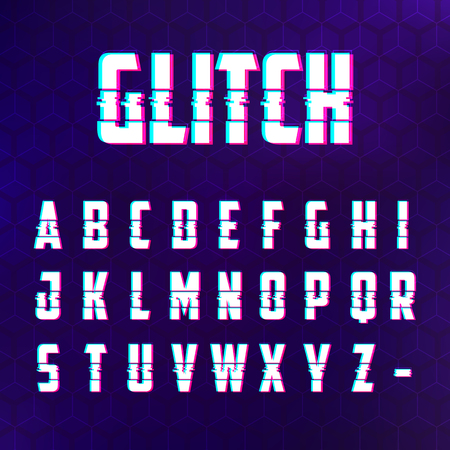Glitch alphabet lettering.
