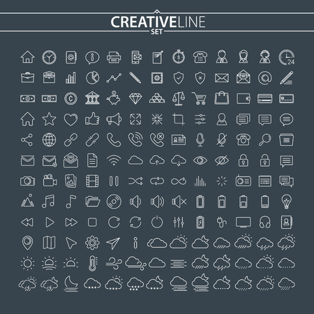 Universal Outline Icons Set Stock Vector - 85681926