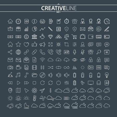 Universal Outline Icons Set 向量圖像