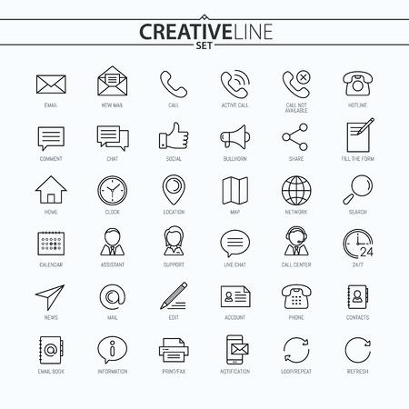 연락처. 보편적 인 얇은 아이콘은 웹 디자인, 모바일 디자인, Infographics 및 기타 설정
