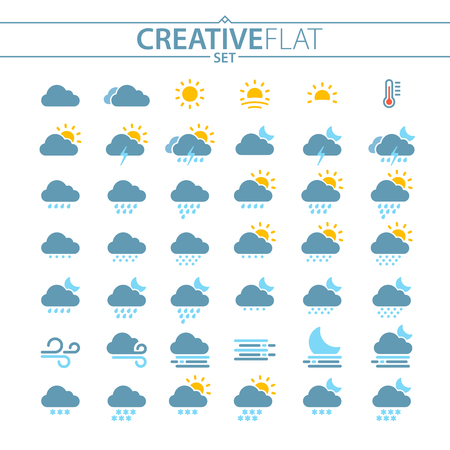 Flat Weather Icons Set For Mobile And Web Illustration
