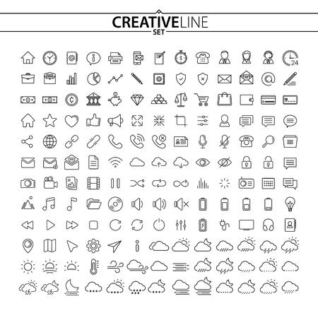Universal Outline Icons Set Illustration