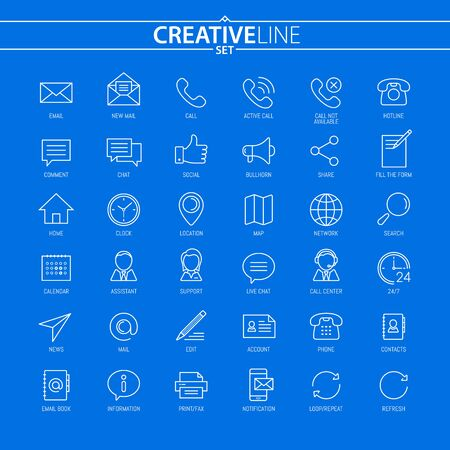Contact Us. Universal Thin Icons Set For Your Web Design, Mobile Design, Infographics, and other