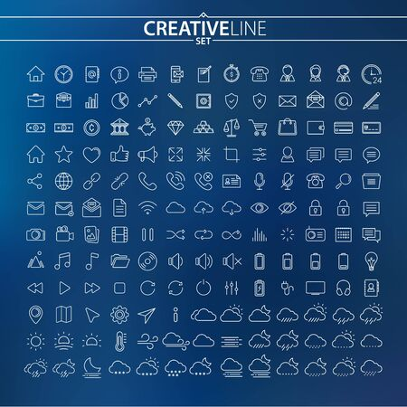 Universal thin icons set for Your Web design, Mobile design, Infographics, and other