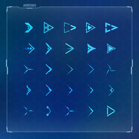 Futuristic and Sci-fi Design Arrow Icons Set  イラスト・ベクター素材