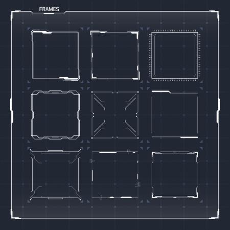 Sci Fi Futuristic HUD User Interface Square Frames Set. Abstract UI elements
