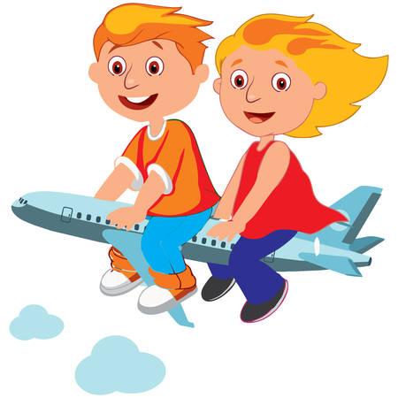 boy and a girl on plane Ilustração Vetorial