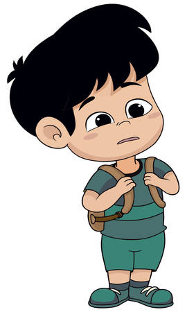 A boy going to school with his bag in holidays