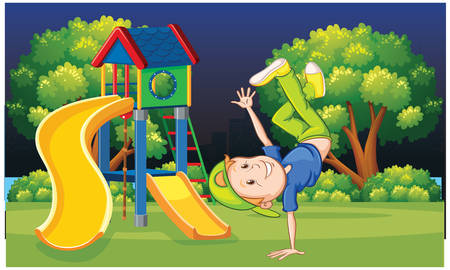 Boy exercise in garden in night Illustration