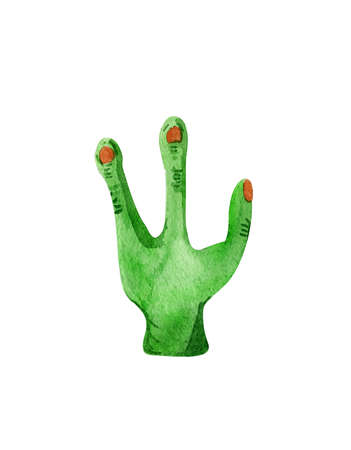 Hand drawn watercolor alien hand for Halloween:) Stock Photo