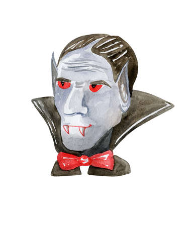 Hand drawn watercolor Dracula for Halloween:)