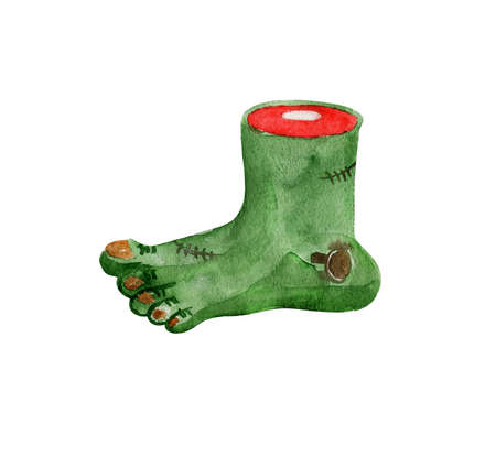 Hand drawn watercolor cut finger for Halloween:) Stock Photo