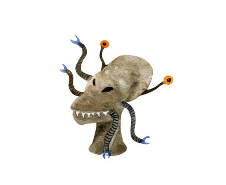 Hand drawn watercolor alien. Extraterrestrials for Halloween :) Stock Photo