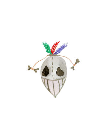 invade: Hand drawn watercolor voodoo mask for Halloween :) Stock Photo
