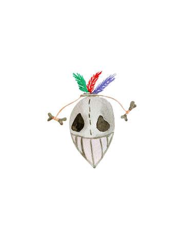 voodoo: Hand drawn watercolor voodoo mask for Halloween :) Stock Photo