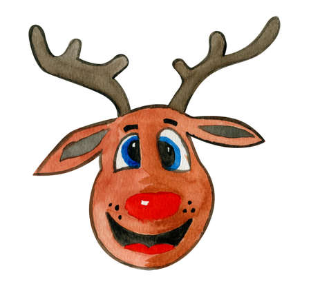Pleasant and funny hand drawn watercolor head of deer with horns in a Christmas spirit:)