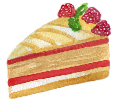 Slice of a raspberry layered cake decorated with raspberries. Watercolor illustration isolated on white background.