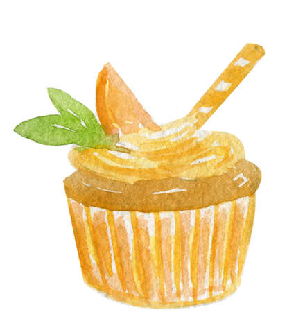 Hand drwan watercolor illustration of a delicious and tasty chocolate cupcake with a orange creamy swirl and a slice of peach or orange and two green mint leafs on top of it, isolated on white background Stock Photo