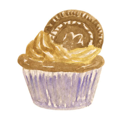 Watercolor illustration of a delicious brown chocolate cupcake with a creamy chocolate swirl and a Oreo cookie on top of it, isolated on white background Stock Photo