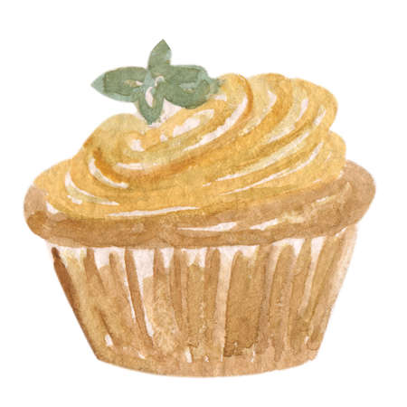 brown swirl: Hand drawn watercolor illustration of a delicious and tasty brown chocolate cupcake with a creamy caramel swirl and a mint leaf on top of it, isolated on white background Stock Photo