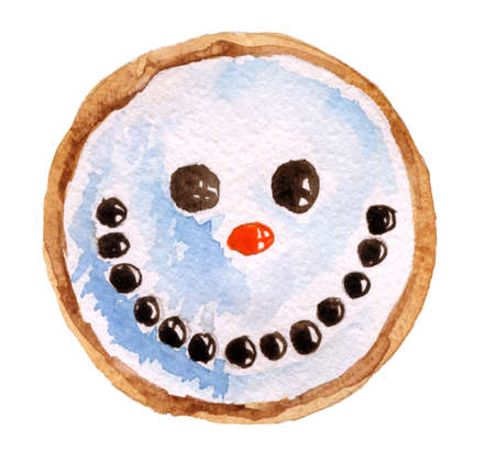 christmas cookie: Watercolor illustration of a Christmas cookie on a white background
