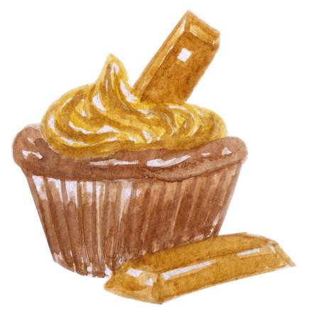 chocolate swirl: Watercolor cupcake with a creamy swirl and a chocolate candy bar