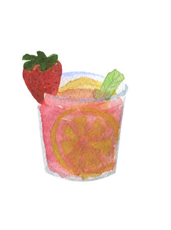 Watercolor illustration of summer cocktail mojito on a white background. Mojito with a lime, strawberry and mint leaves inside the glass. Stock Photo