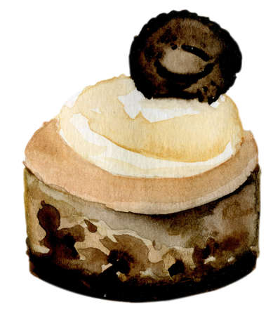 cupcake illustration: Watercolor cake with cream and chocolate on a white background