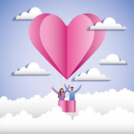 Love invitation card with hot air balloon