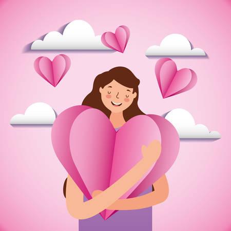Woman hugging a heart