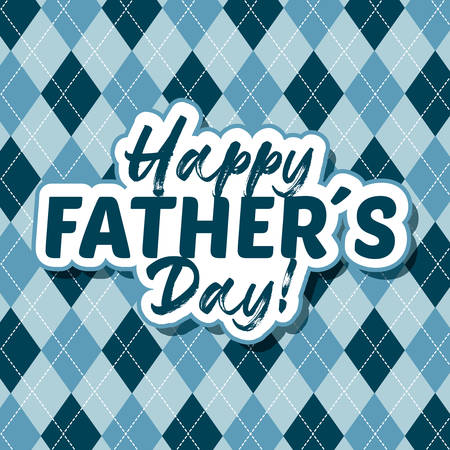 Fathers day vintage card over vintage blue background digital illustration image Vectores