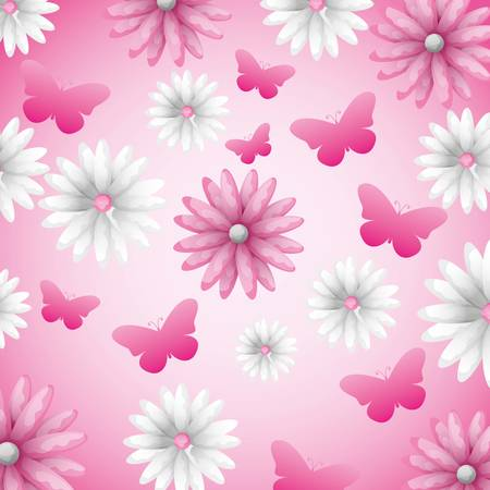 colorful flowers and butterflies background pattern vector digital illustration image