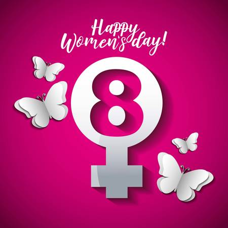 Happy Womens Day card with female gender and butterfly vector digital illustration image
