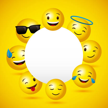 Emojis yellow round face background and frame vector digital illustration image