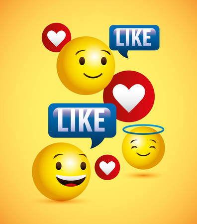 Emojis yellow round face and like chat bubbles vector digital illustration image Vektorové ilustrace