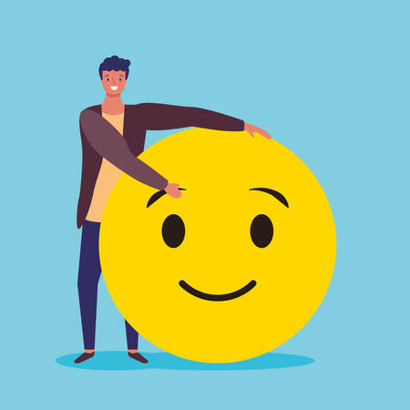 Emoji en man met lachend gezicht emoticon vector digitale illustratie afbeelding