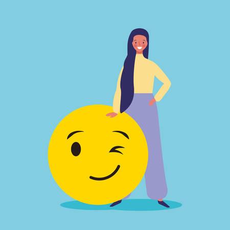 People and emojis woman with flirt eye emoticon vector digital illustration image