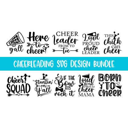 Quote Cheerleading typography set, lettering style cheerleading promotion quotes, Graphic design lifestyle lettering, and Sketch mug inspiration vector type simple sticker lettering set